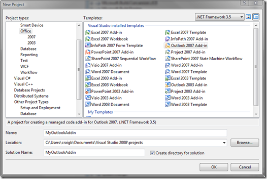 Visual Studio New Project dialog showing VSTO templates